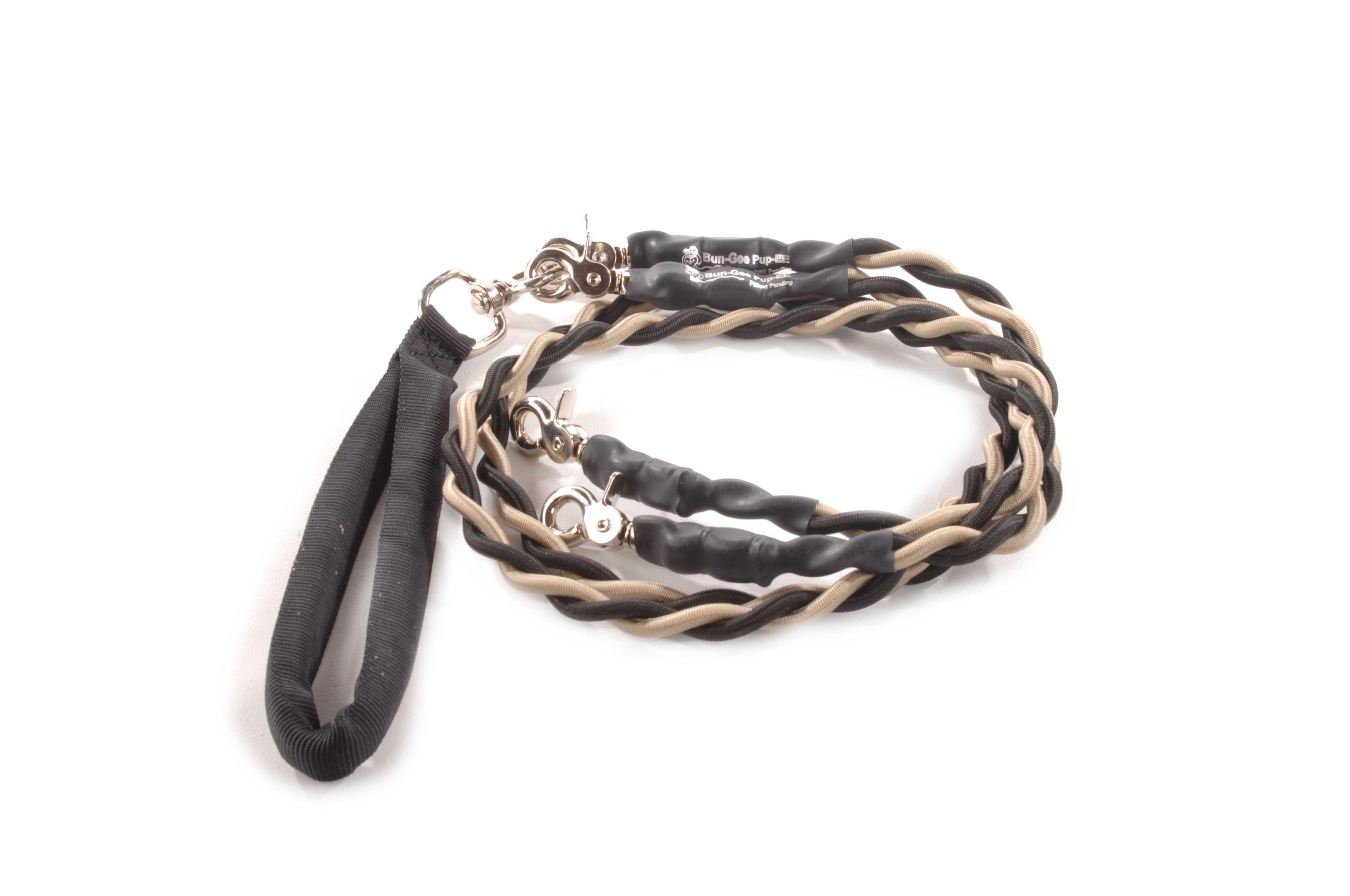Bungee Pupee 4-Feet Double Pet Leash for Medium Sized Dogs, Grey/Black