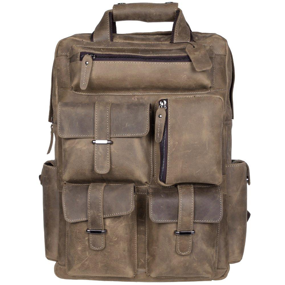 S-ZONE Vintage Crazy Horse Genuine Leather Backpack Multi Pockets Travel Sports bag (Light Brown) S-ZONE D04V274B