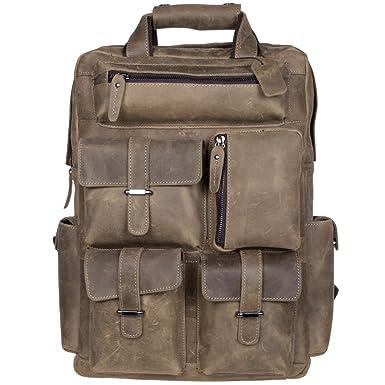 Amazon.com | S-ZONE Vintage Crazy Horse Genuine Leather Backpack ...