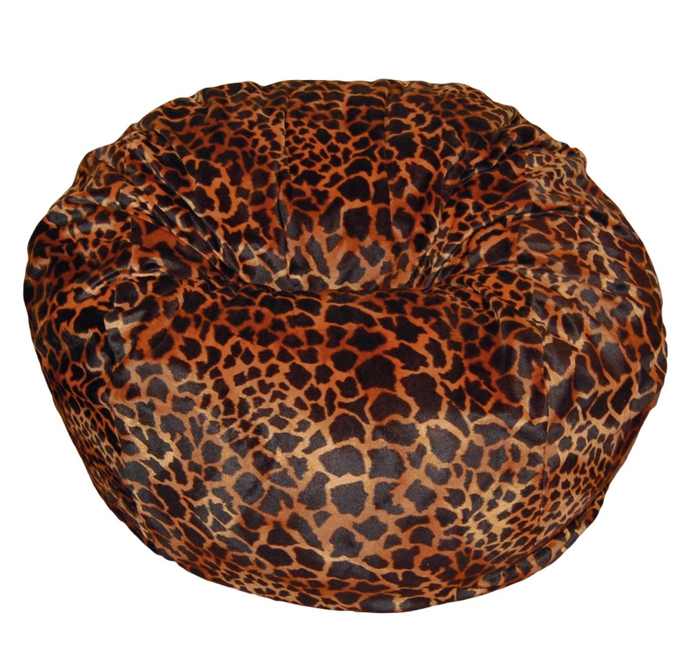 Ahh Products Bronze Giraffe Animal Print Fur Washable Large Bean Bag Chair