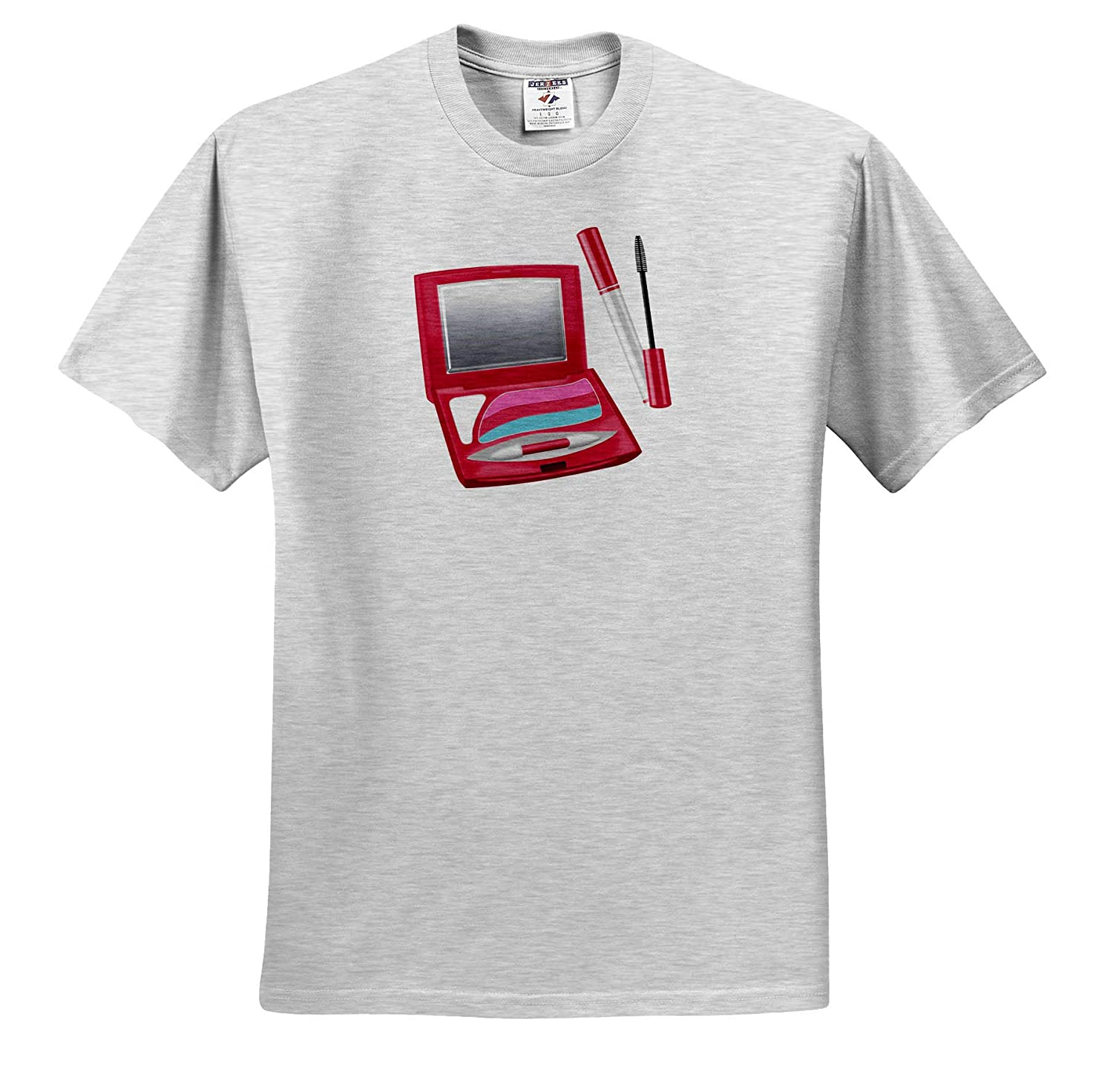 3dRose Anne Marie Baugh Eye Shadow Compact and Mascara Illustration Illustrations ts/_317950 Adult T-Shirt XL