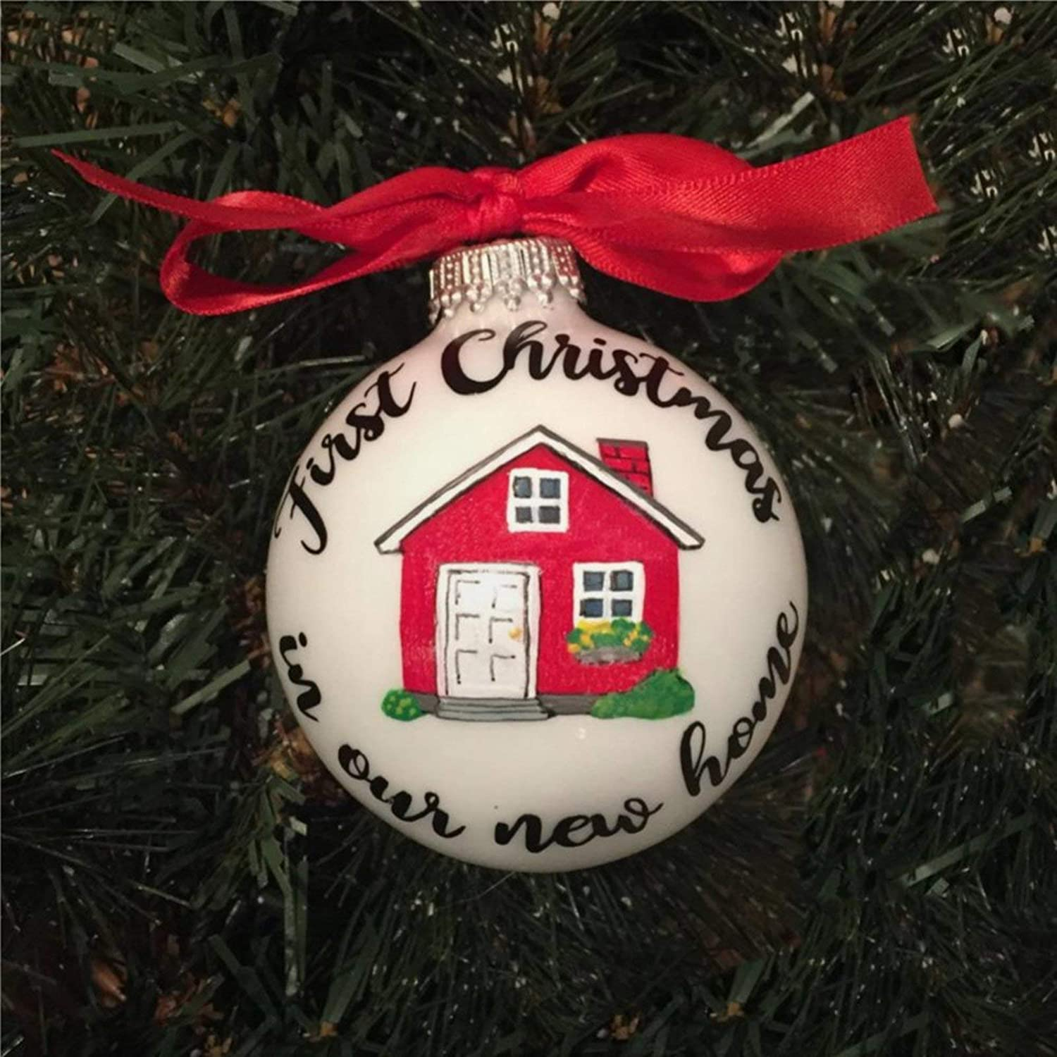 DONL9BAUER First in Our New Home Christmas Ball&Bauble with Presents, Acrylic Christmas Ornament for Family,Friends,Couple &Engagement Party.