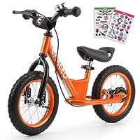 """ENKEEO 14"""" Draisienne Pas de Pédale de Contrôle Vélo de Marche de Formation de Transition avec Siège Réglable et Guidon Rembourré pour Les Enfants (Orange)"""