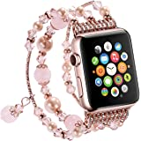 Tomazon Apple Watch Band, Fashion Handmade Elastic Stretch Faux Pearl Bracelet Replacement Women Girls iWatch Bands Strap for Apple Watch Series 3 / 2 / 1 38mm - Pink