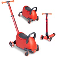 Yvolution Y Glider Luna | 5-in-1 Ride-On to Scooter with Storage Trunk | Ages 10 Months to 10 Years (Red)