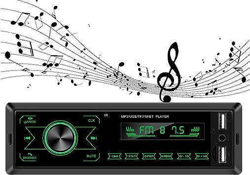 ODLICNO Autoestéreos Reproductor con Pantalla Táctil Estéreo para Auto MP3 para Coche con FM/USB/AUX Estuche para Automóvil con Bluetooth Tarjeta de Llamada Puerto USB y Ranura para Tarjeta SD(Negro): Amazon.es: Electrónica