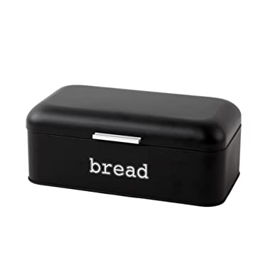 Bread Box for Kitchen Counter - Stainless Steel Bread Bin Storage Container For Loaves, Pastries, and More - Retro/Vintage Inspired Design, Matte Black, 16.75 x 9 x 6.5 inches