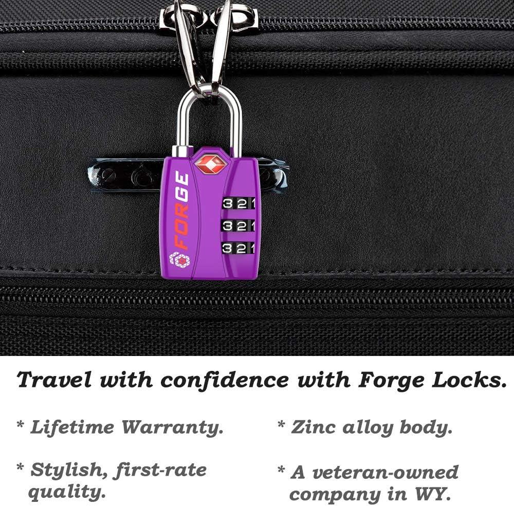 50 LOCKS -TSA Approved Luggage Locks BLACK Zinc Alloy Body 50 Pack Open Alert Red Indicator