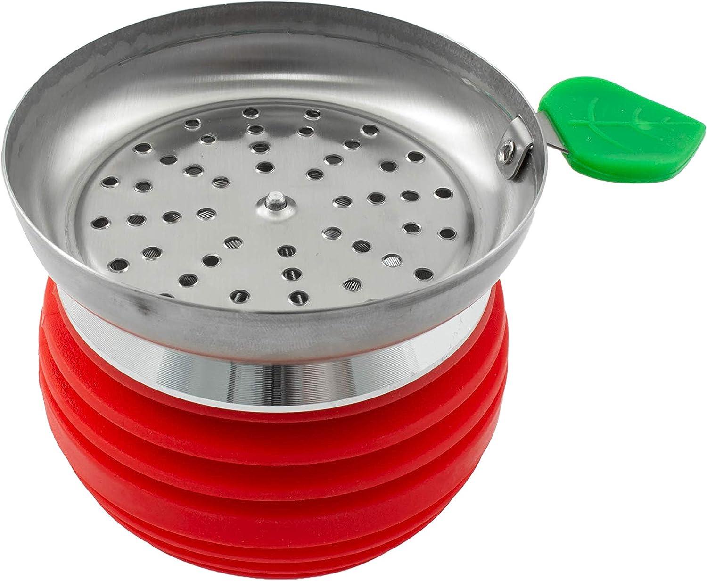 Cazoleta para cachimba shisha hookah con base de metal - Diseño premium - Silicona ignífuga PG-010 (Rojo)