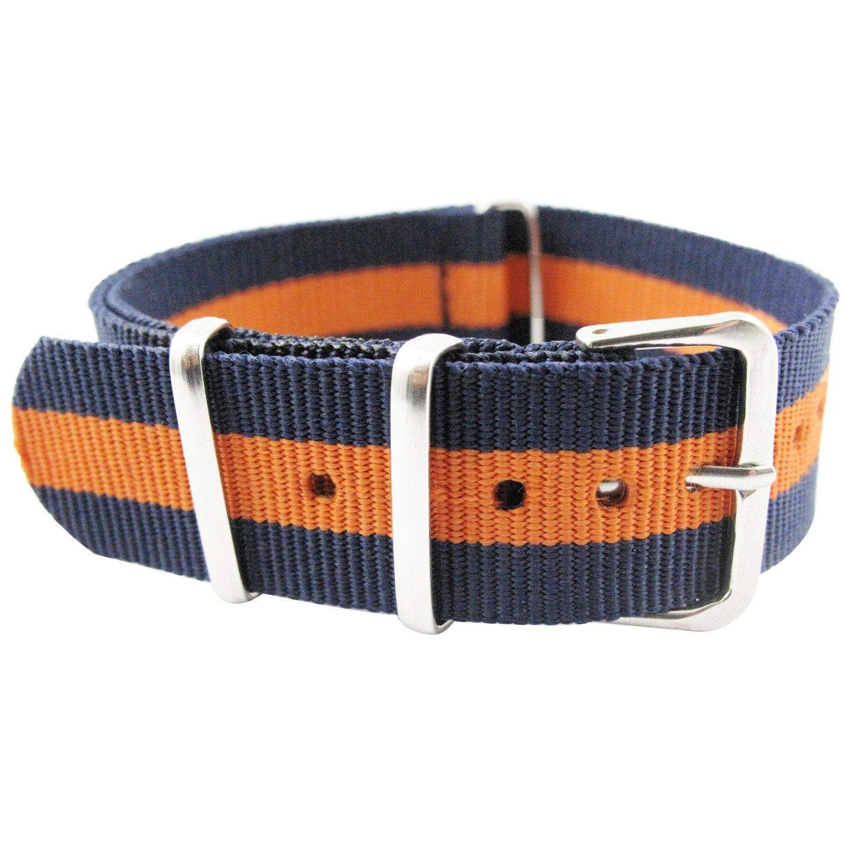 Youyoupifaユニセックス22 mmファッションナイロン時計バンドステンレススチールピン留め(ブルー+オレンジストラップ)  B07BVP25LR