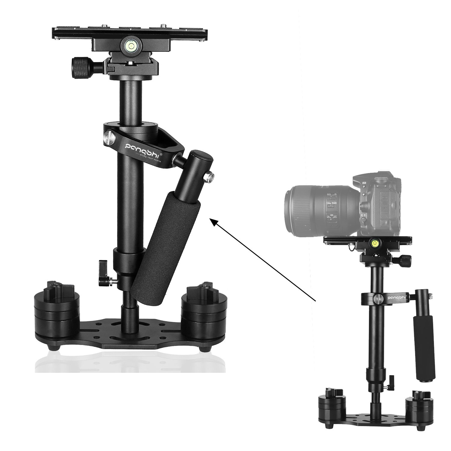 pangshi S40 15.7''/40cm Handheld Stabilizer Steadycam Camera Video Steadicam with 1/4'' Screw Quick Release Sliding Plate for Nikon Canon DSLR SLR Cameras DV up to 3.3lbs/1.5kg