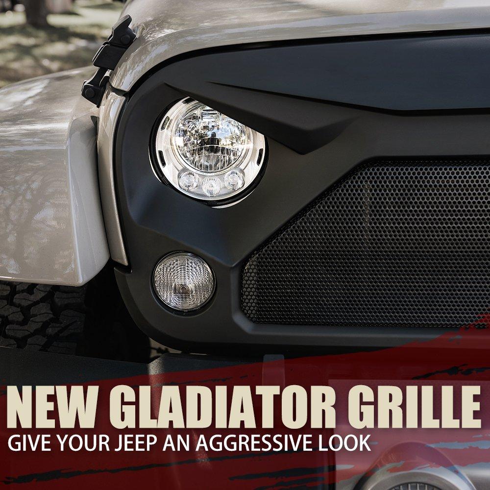 Star Steel Mesh Xprite Front Matte Black Gladiator Vader Grill Grid Grille for Jeep Wrangler JK JKU 2007-2018 Rubicon Sahara Sport