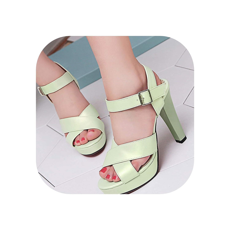 Green Women Sandals Thick High Heels Open Toe Platform shoes Woman Summer shoes