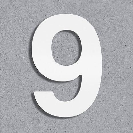 wei/ß weiss beschichtet 5 Thorwa/® Design Edelstahl Hausnummer inkl Montagematerial//H: 160 mm//RAL 9003 // Witterungsfest