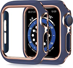 Case Compatible with Apple Watch Series 6 Series SE Fashion Hard PC Plated Frame Case Rose Golden Edge Blue Bumper Design Protective Case Cover Replacement for iWatch Series 5 Series 4 44MM