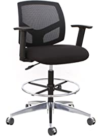 Attrayant Thorntonu0027s Office Supplies Mesh Back Adjustable Drafting Stool Tall Office  Chair   Black
