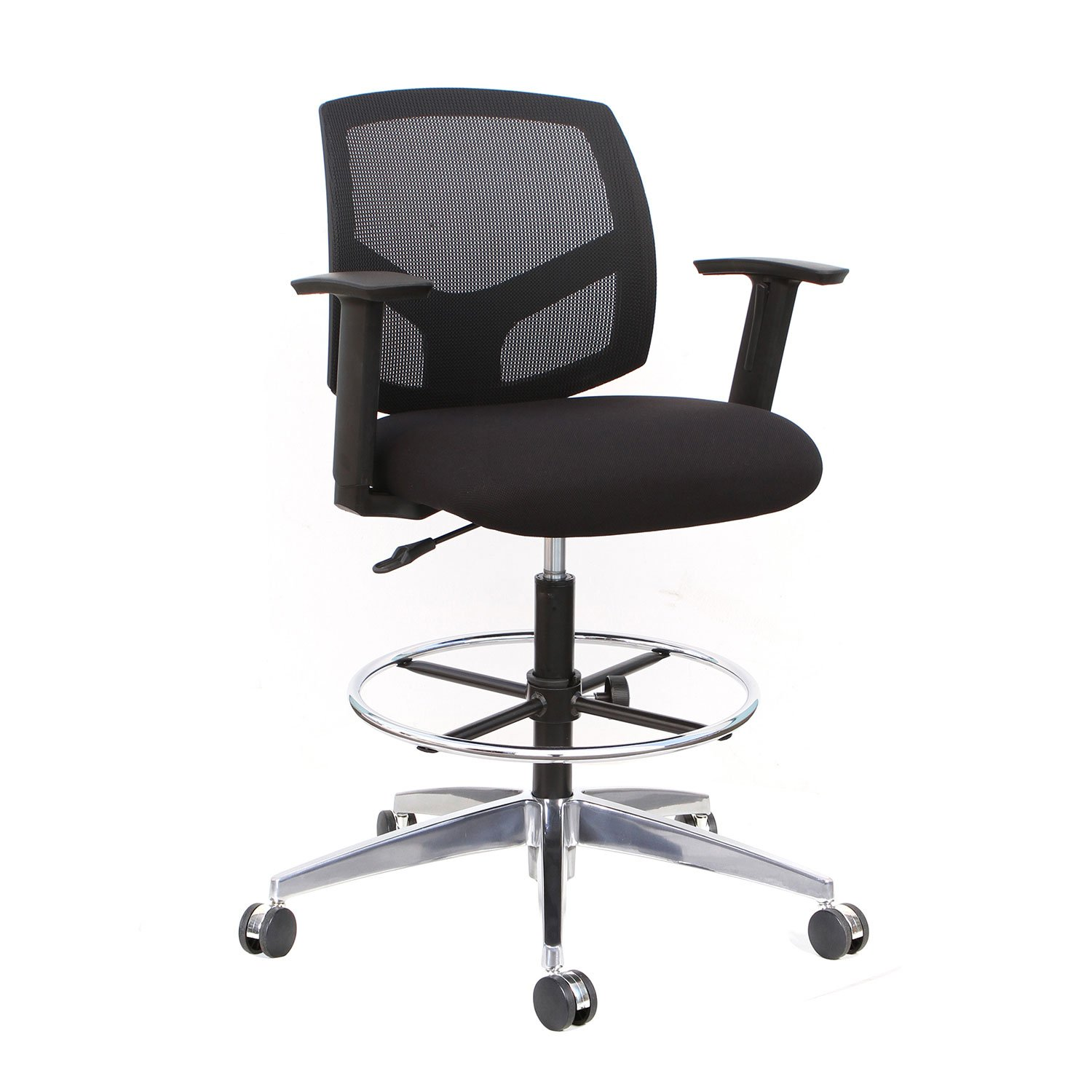 Thorntons Office Supplies Forge Mid-Back Mesh Drafting Chair, Black