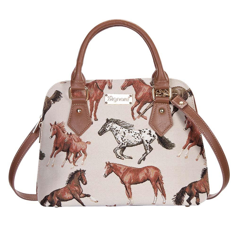 Running Horse Tan TopHandle Shoulder Bag by Signare Ladies Unique Tapestry Evening LongStrap Handbag CONVRHOR