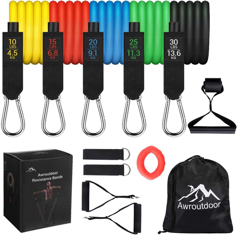 Awroutdoor 13 Piezas Bandas de Resistencia, Set de Bandas Elasticas Musculacion con Cinco Tubo de Látex, Bandas de Resistencia Fitness para ...