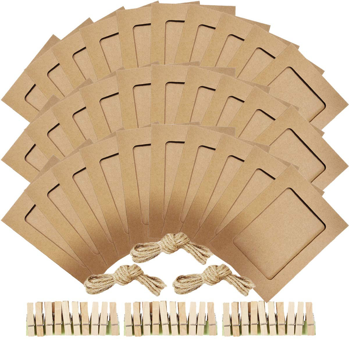 Novelty Bank Brown NOBBEE Paper Photo Frame 5x7 Kraft Paper Picture Frames 30 PCS DIY Cardboard Photo Frames with Wood Clips and Jute Twine