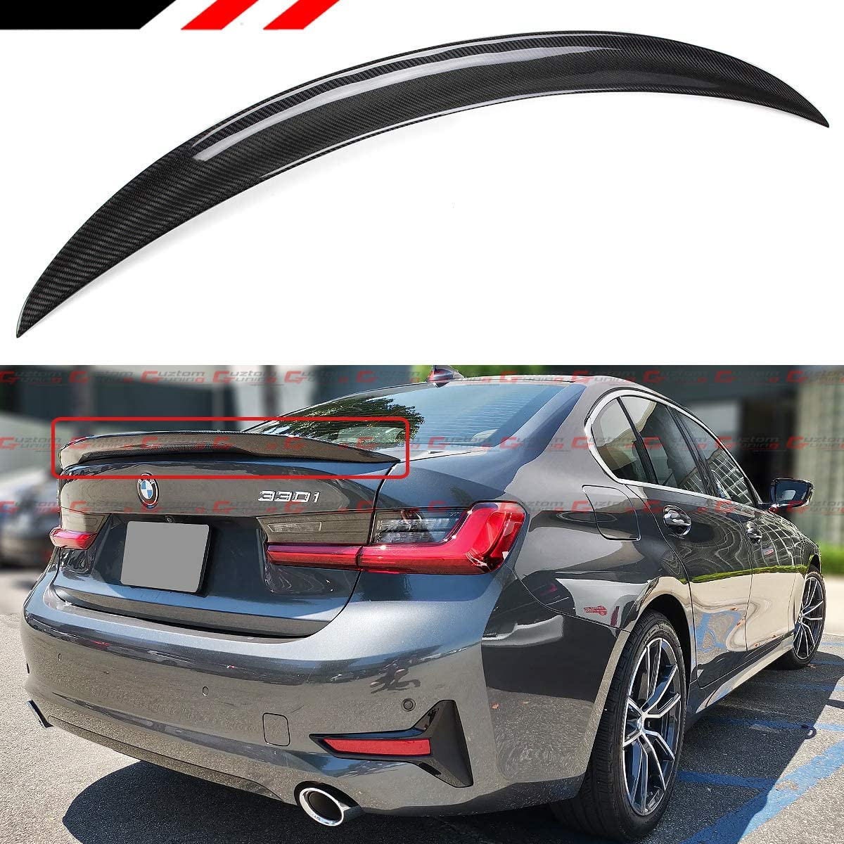 Compatible with BMW 3 Series G20 Sedan 2020-2021 316i 318i 320i 328i 330i 335i 340i Eppar New Protective Rear Splitters Only MP Bumper Carbon Look