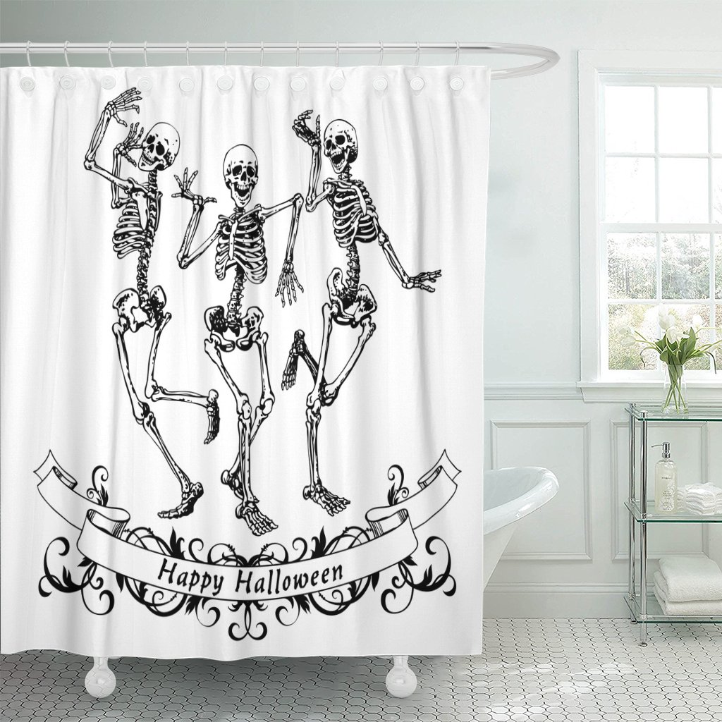 Emvency Fabric Shower Curtain Curtains with Hooks Dance Happy Halloween Dancing Skeletons Contour Graphics Funny Party Scary Drawing Fun Vintage Monochrome 60''X72'' Waterproof Decorative Bathroom