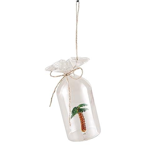 Cristal palmera en una botella con abierto para colgar decorada y cordel para colgar