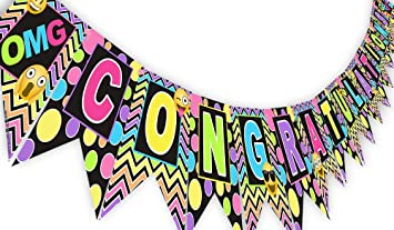 amazon emoji rainbow congratulations banner pennant graduation