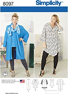 product image for Simplicity 8097 Women's Plus Size Tunic, Top, Leggings, and Kimono Sewing Pattern, Sizes 26W-32W