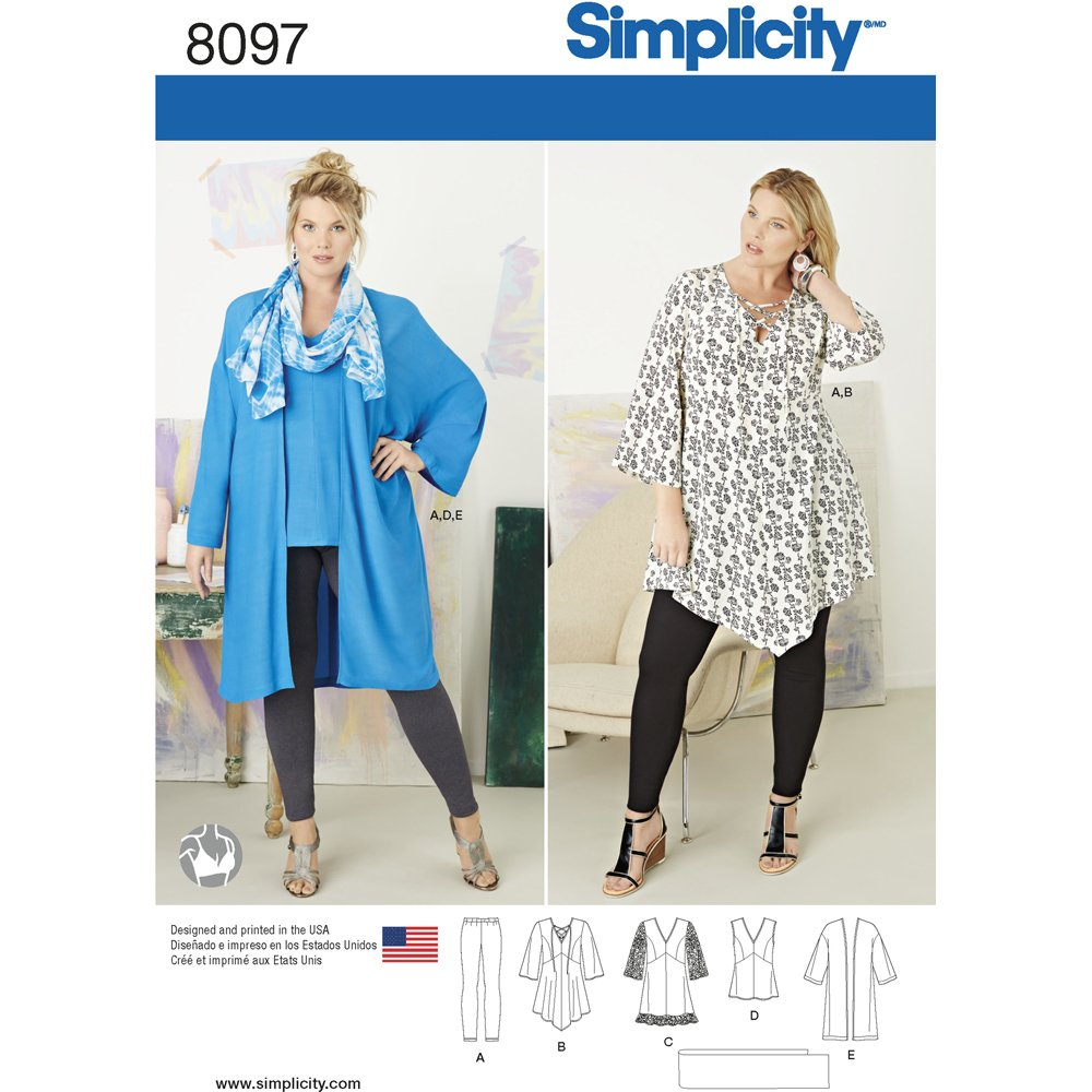 Simplicity Creative Patterns US8097GG Plus Size Tunic, Top, Kimono and Knit Leggings, Size GG (26W-28W-30W-32W) OUTLOOK GROUP CORP
