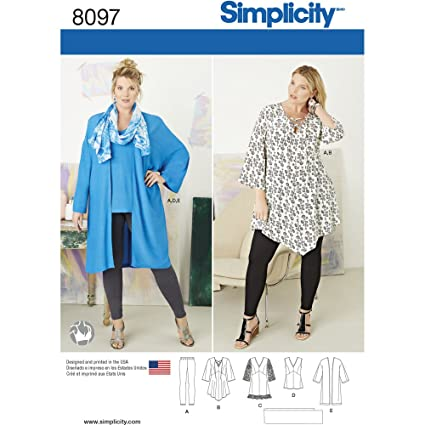 8f404eac846b6e Image Unavailable. Image not available for. Color: Simplicity Creative  Patterns US8097FF Plus Size Tunic ...