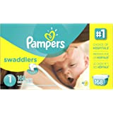 Pampers Size 1 Swaddlers Newborn Diapers, 168 Count
