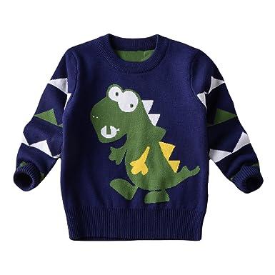 CM-Kid little Boys Dinosaur Ugly Christmas Sweater Kids Pullover Sweatshirt  Navy 1a7de1cd1