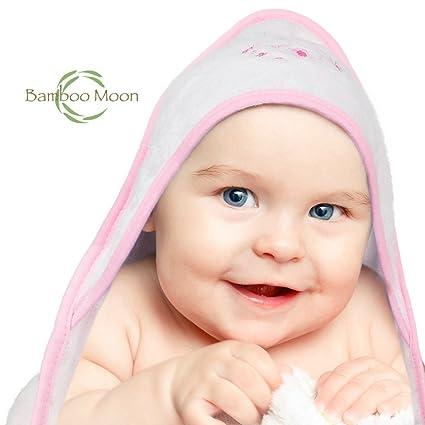 Toalla de baño para bebé con capucha de tela de bambú. Diseño luna y bambú perfecto ...