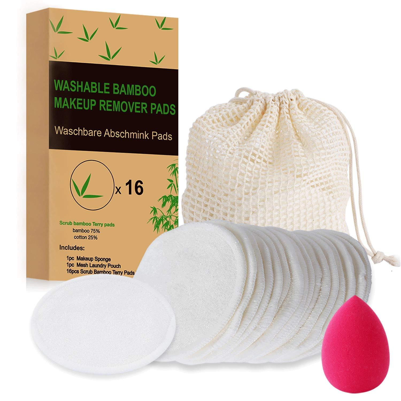 + 1 W/äschebeutel 16 St/ück 1 Make-up Schwamm Biologisch Abbaubare Waschbare Abschminkpads Waschies Wiederverwendbare Wattepads Bambus Make Up Vegan Bio-Make-up-Scheibe Gesichtsreinigungsscheiben