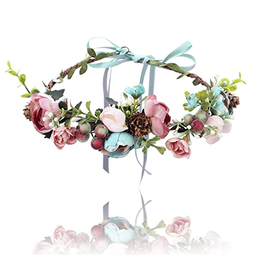Flower Crown Headband Floral Headpiece-AWAYTR Women Girl Bohemia Adjustable  Tree Rattan Leaf Flower Garland 5ee0857e10a