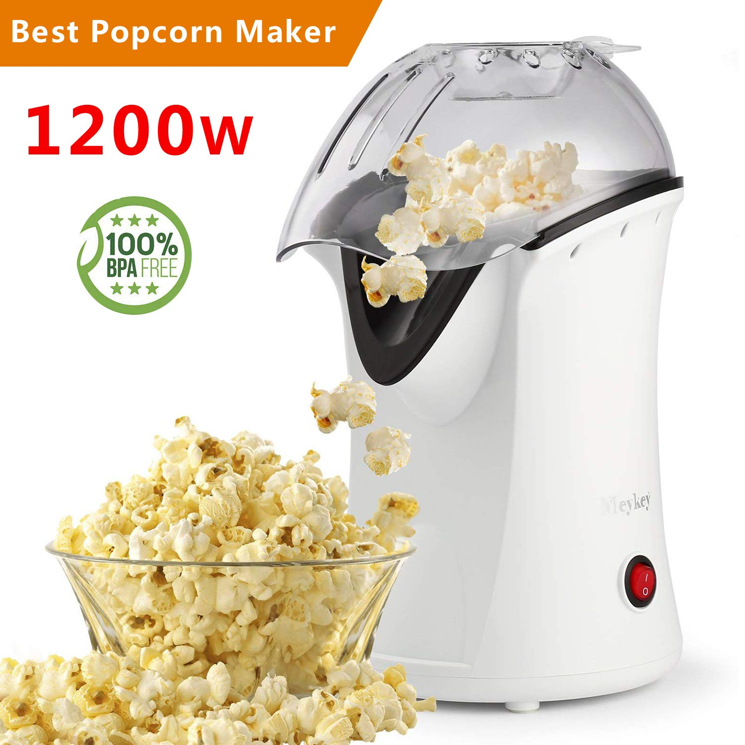 Popcorn Maker, Popcorn Machine, 1200W Hot Air Popcorn Popper Healthy Machine No Oil Needed MeyKey