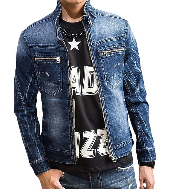 Cruiize Mens Stand Collar Denim Jacket Zip Up Trucker Jeans Jacket