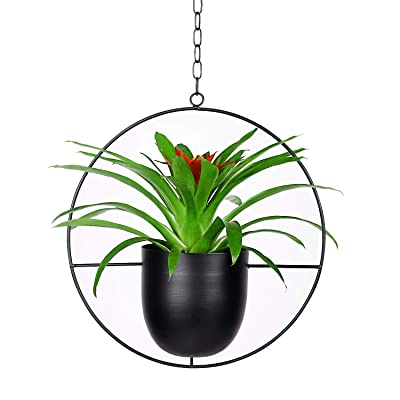 Metal Round Plant Hanger with Flower Pot (Upgraded), Ceiling and Wall Hanging Planter, Modern Hanging Plant, Mid Century Flower Pot Plant Holder for Indoor Outdoor Home Decor (Plants Not Included): Garden & Outdoor