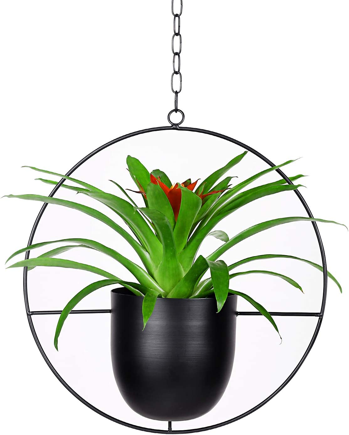 Metal Round Plant Hanger with Flower Pot (Upgraded), Ceiling and Wall Hanging Planter, Modern Hanging Plant, Mid Century Flower Pot Plant Holder for Indoor Outdoor Home Decor (Plants Not Included)