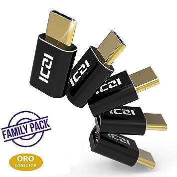 ICZI Adaptador USB C a Micro USB (Paquete Familiar) con Contactos Chapados en Oro, 5 Adaptadores USB OTG Carcasa de Aluminio para Cables Micro USB y ...