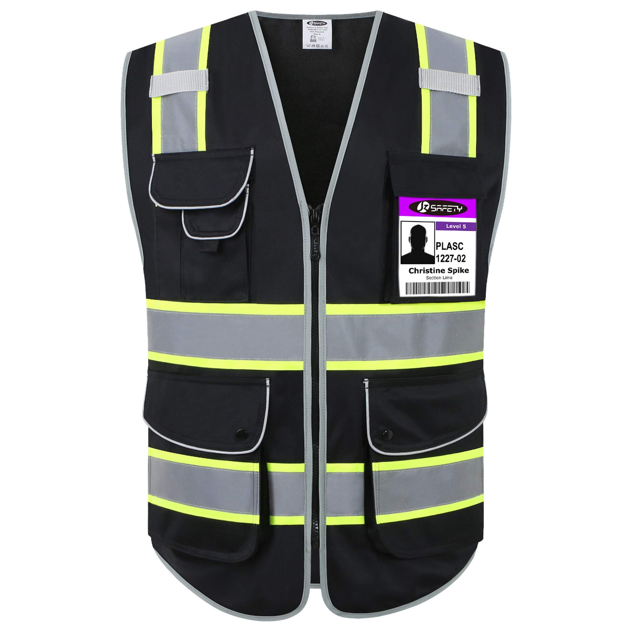JKSafety 9 Pockets High Visibility Zipper Front Safety Vest Black with Dual Tone High Reflective Strips Meets ANSI/ISEA Standards (Black Yellow Strips, X-Large)