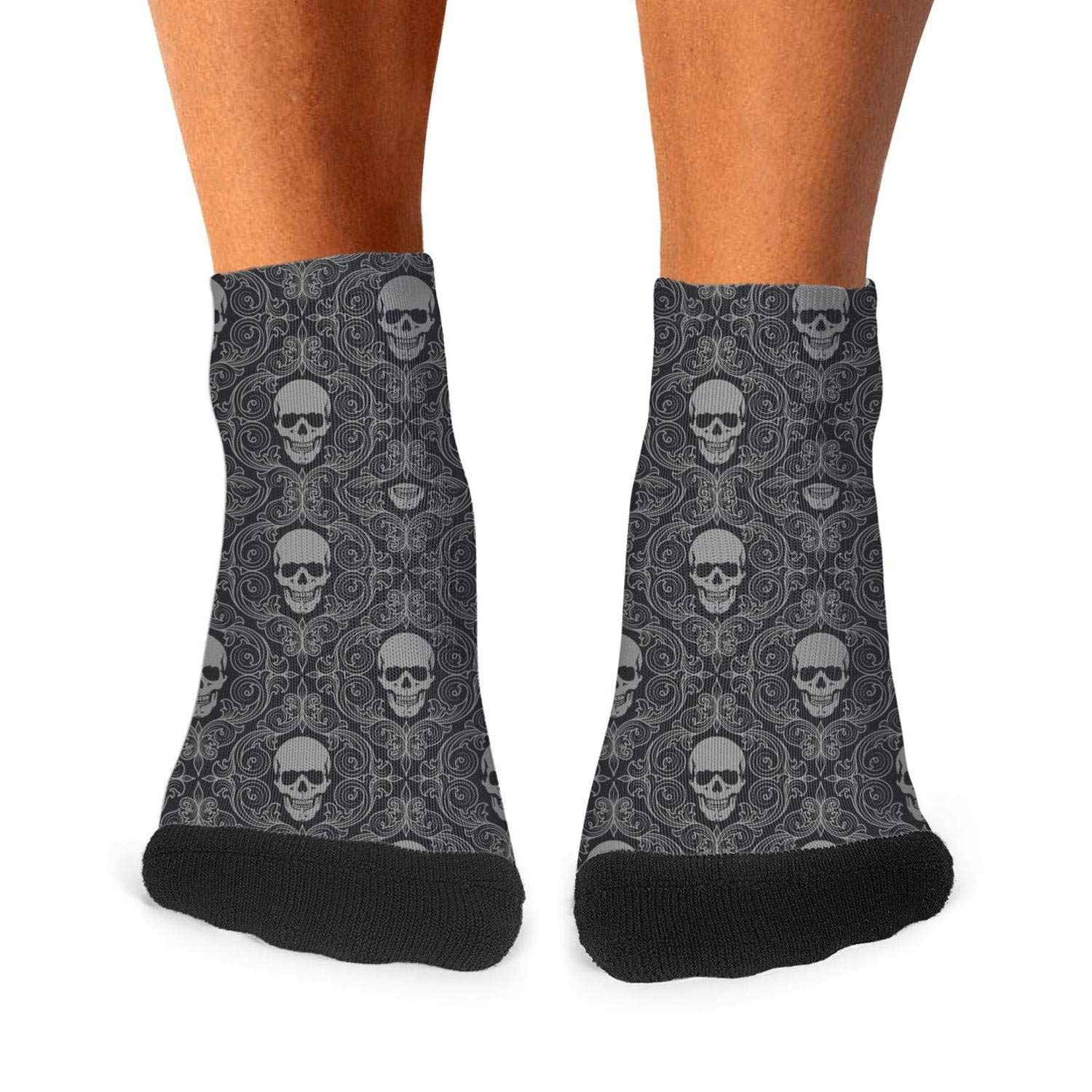 Floowyerion Mens Wallpaper Skull Logo Novelty Sports Socks Crazy Funny Crew Tube Socks