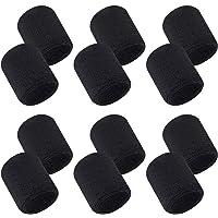 Aipaide 12 stuks absorberende zweetbanden voor dames en heren, zwart, katoen, polsbanden voor sport, basketbal…