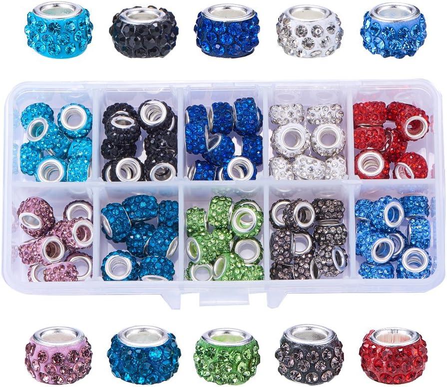 NBEADS Cuentas de Agujero Grande, 1 Caja 100 PC 10 Colores Cuentas de Diamantes de imitación Europeos Cuentas de Pulsera para Hacer Joyas
