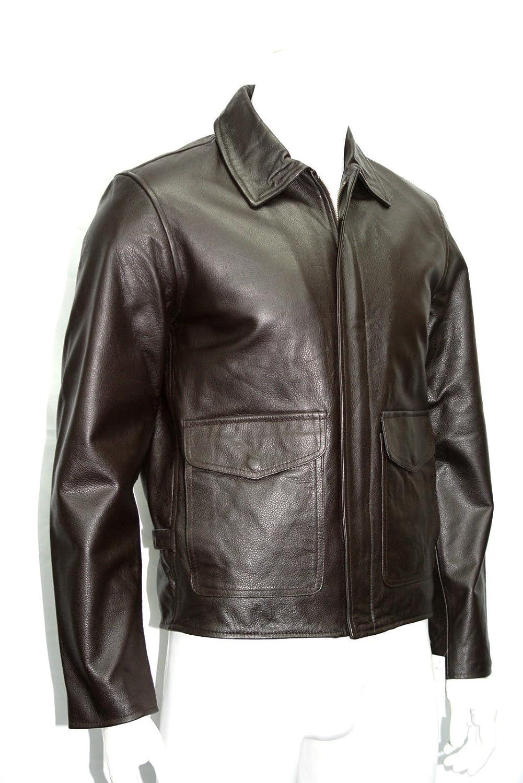 Man Indiana Jones Dark brown Real Cowhide Leather Jackets