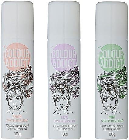 2 x color tiza de pelo Addict Spray (verde, naranja o lila) temporal tinte de pelo – colores pastel
