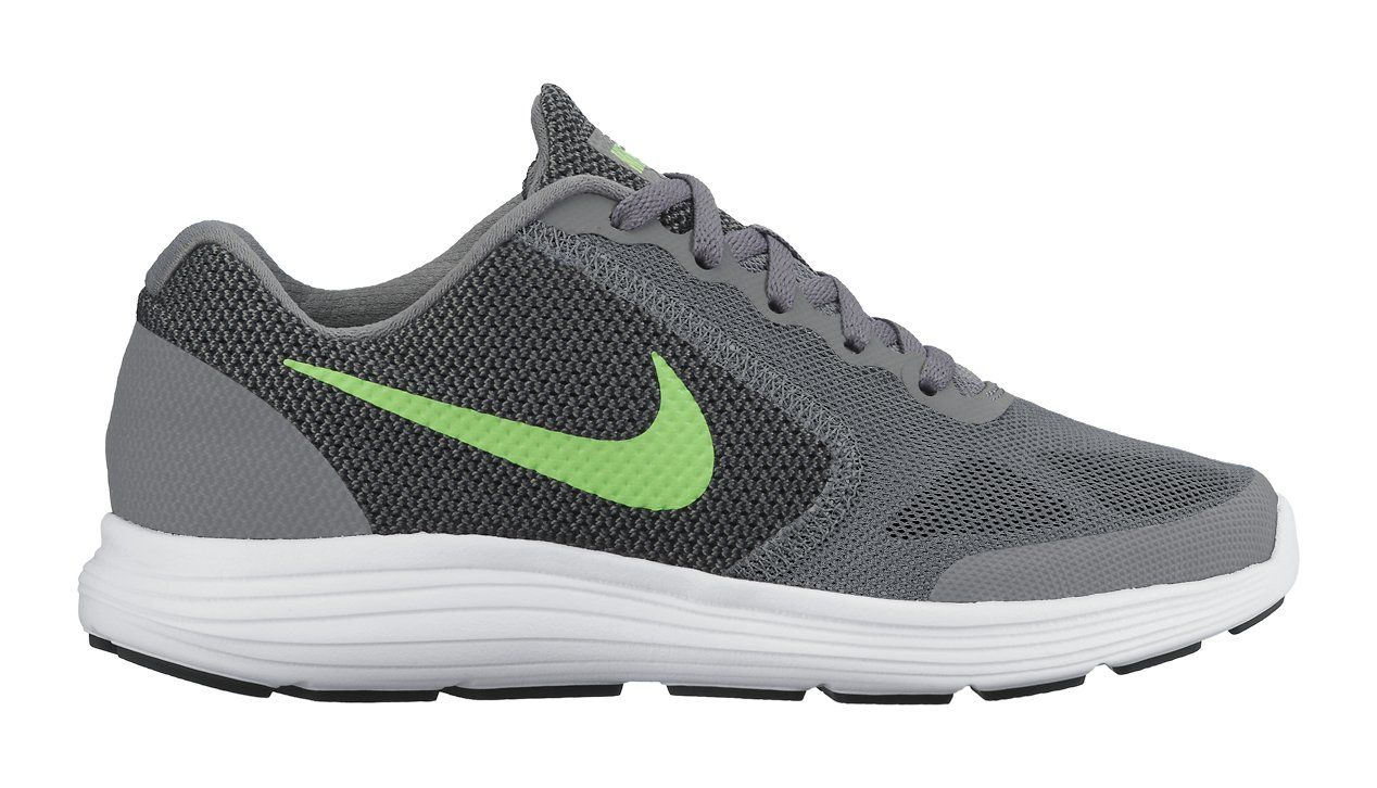 NIKE ' Revolution 3 (GS) Running Shoes B00YG3SVOE 6.5 M US Big Kid|Cool Grey/Voltage Green/White/Black