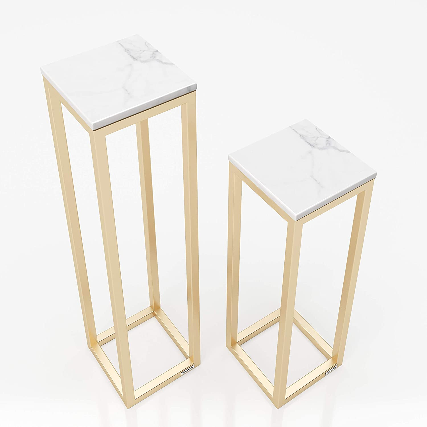 Gold 20 x 80 x 20 cm Playboy 175801MB Nest of Tables Flower Stand Lounge 2 Pieces Metal Marble