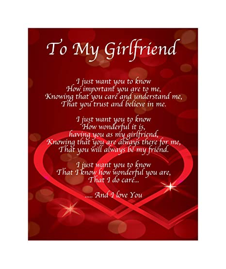 Personalised To My Girlfriend Poem Valentines Day Birthday Christmas